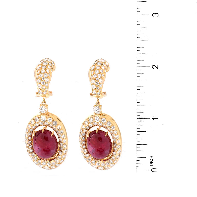 Vintage Approx. 22.00 Carat TW Oval Cabochon Ruby, 8.50 Carat Pave Set Round Brilliant Cut Diamond and 18 Karat Yellow Gold Ring.