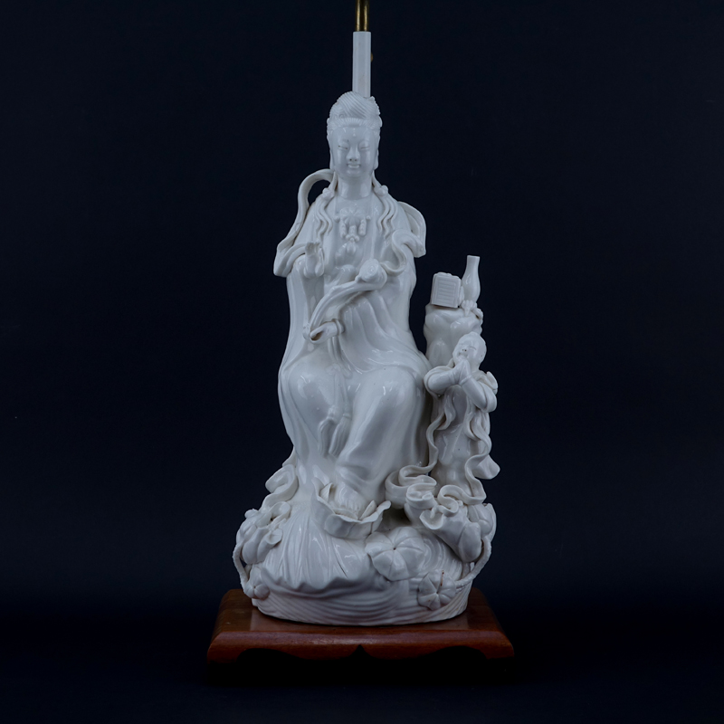 Large Chinese Blanc De Chine Porcelain Guanyin Grouping Mounted as Lamp.