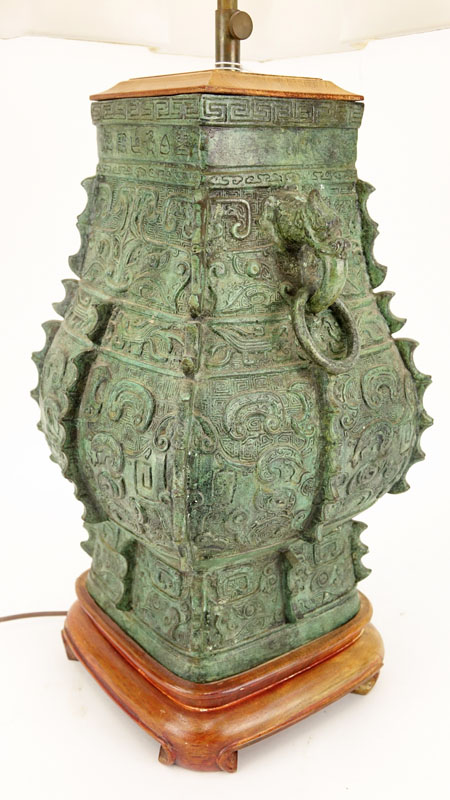 A Chinese Archaic Style Patinated Bronze Vase Mounted as Lamp with Shade.