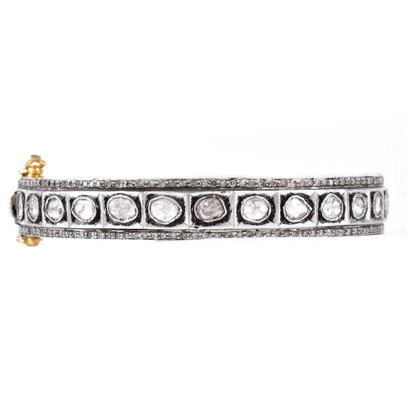 Vintage Table Cut Diamond and Silver Topped 14 Karat Yellow Gold Hinged Bangle Bracelet.