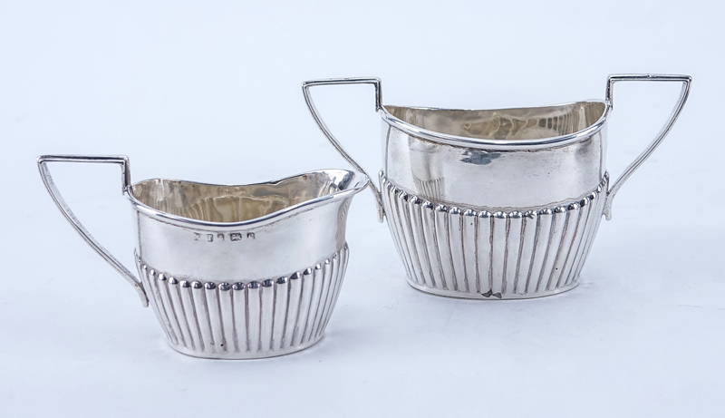 Four (4) Piece Assembled English Silver Miniature Tea Set On Footed Tray.