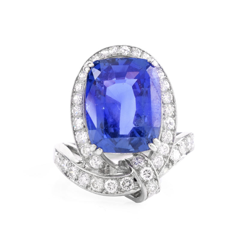 AGL Certified Circa 1940s Approx. 10.50 Carat Oval Cushion Cut Ceylon No Heat Sapphire, Approx.
