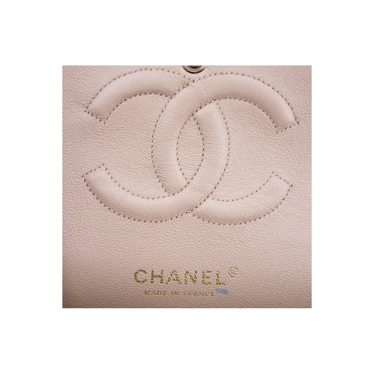 Chanel Light Beige Quilted Leather Bicolor Classic Double Flap 26 Bag. Gold tone hardware, beige interior with zippered and patch pockets, chain interlaced with leather.