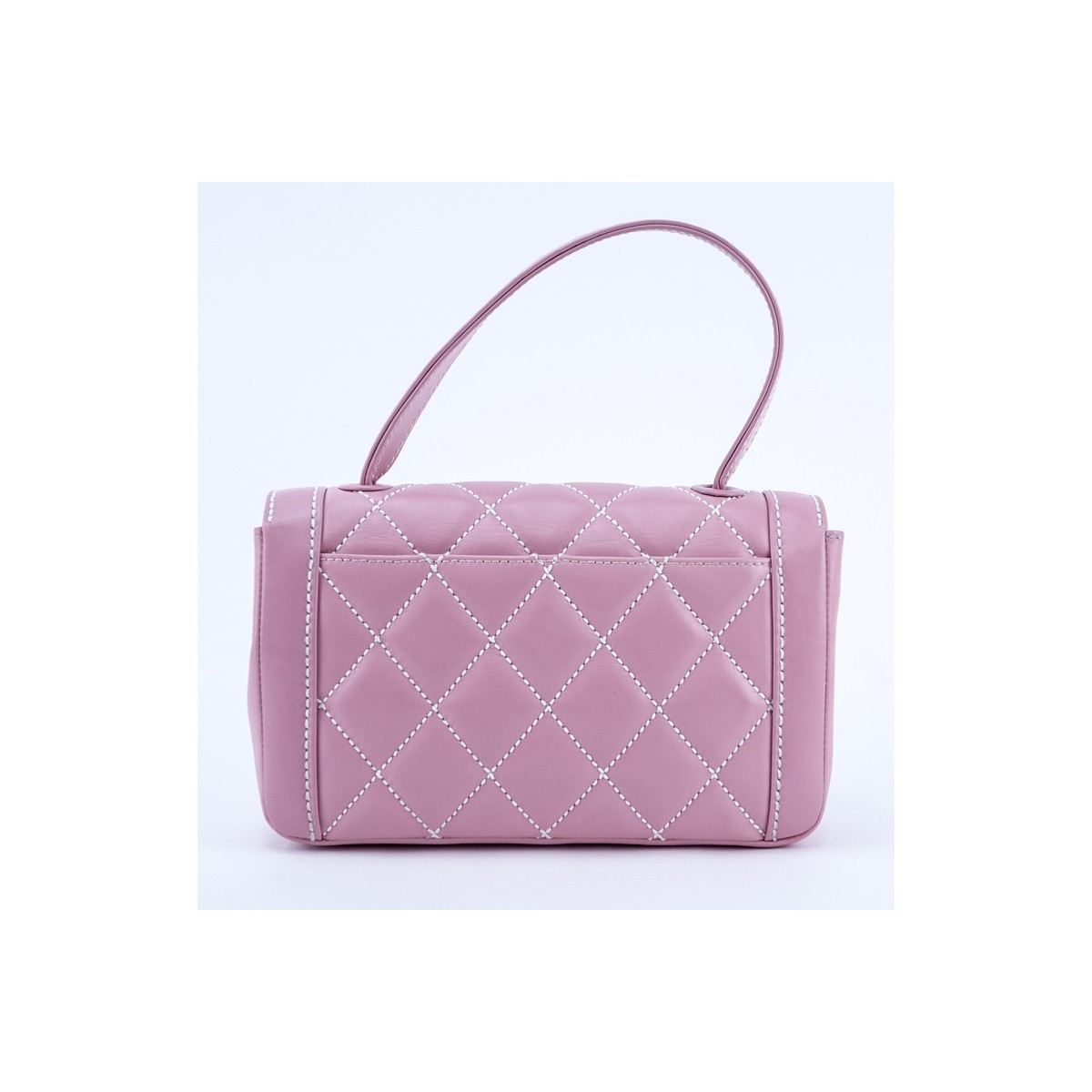 Chanel Light Pink Thick Quilted Leather Top Handle Rectangular Bag. Gold tone hardware, the interior of white monogram fabric with zippered and patch pockets.