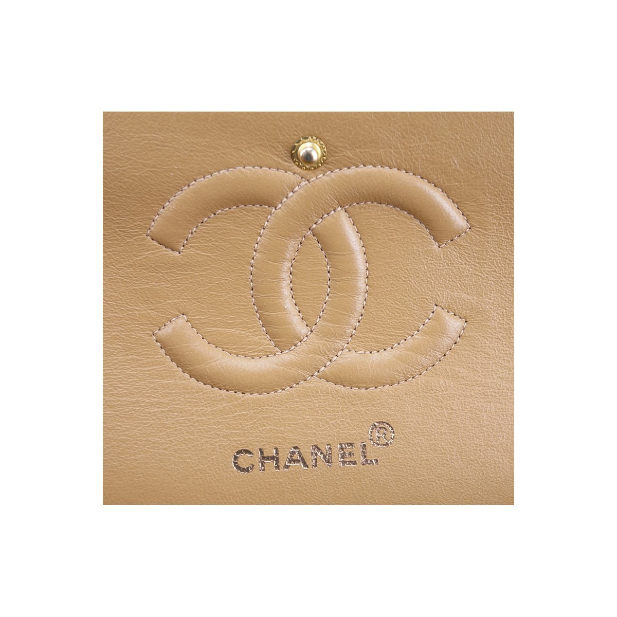 Chanel Dark Beige Quilted Leather Classic Double Flap 26 Handbag. Gold tone hardware, matching leather interior with patch and zippered pockets.