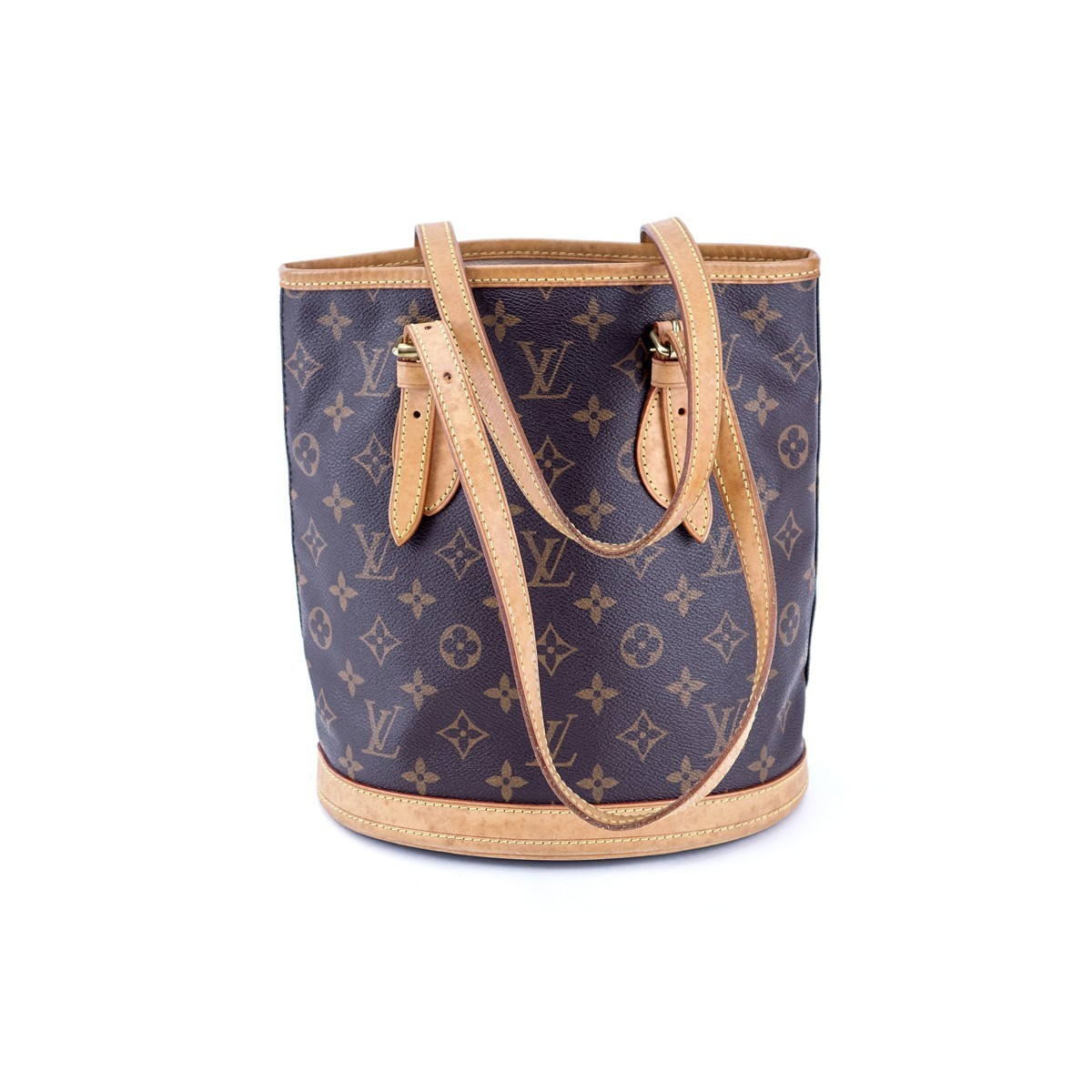Louis Vuitton Brown Monogram Coated Canvas Bucket PM Bag. Golden brass hardware, beige leather interior with zipper and slot pockets, vachetta straps.