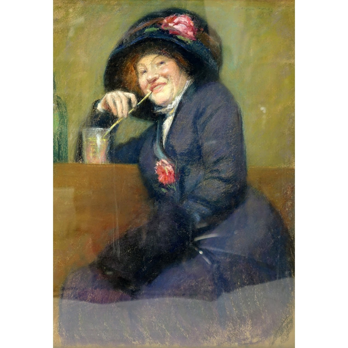 "19th Century French Pastel ""Woman With Drink"" Unsigned. Old French labels en verso."