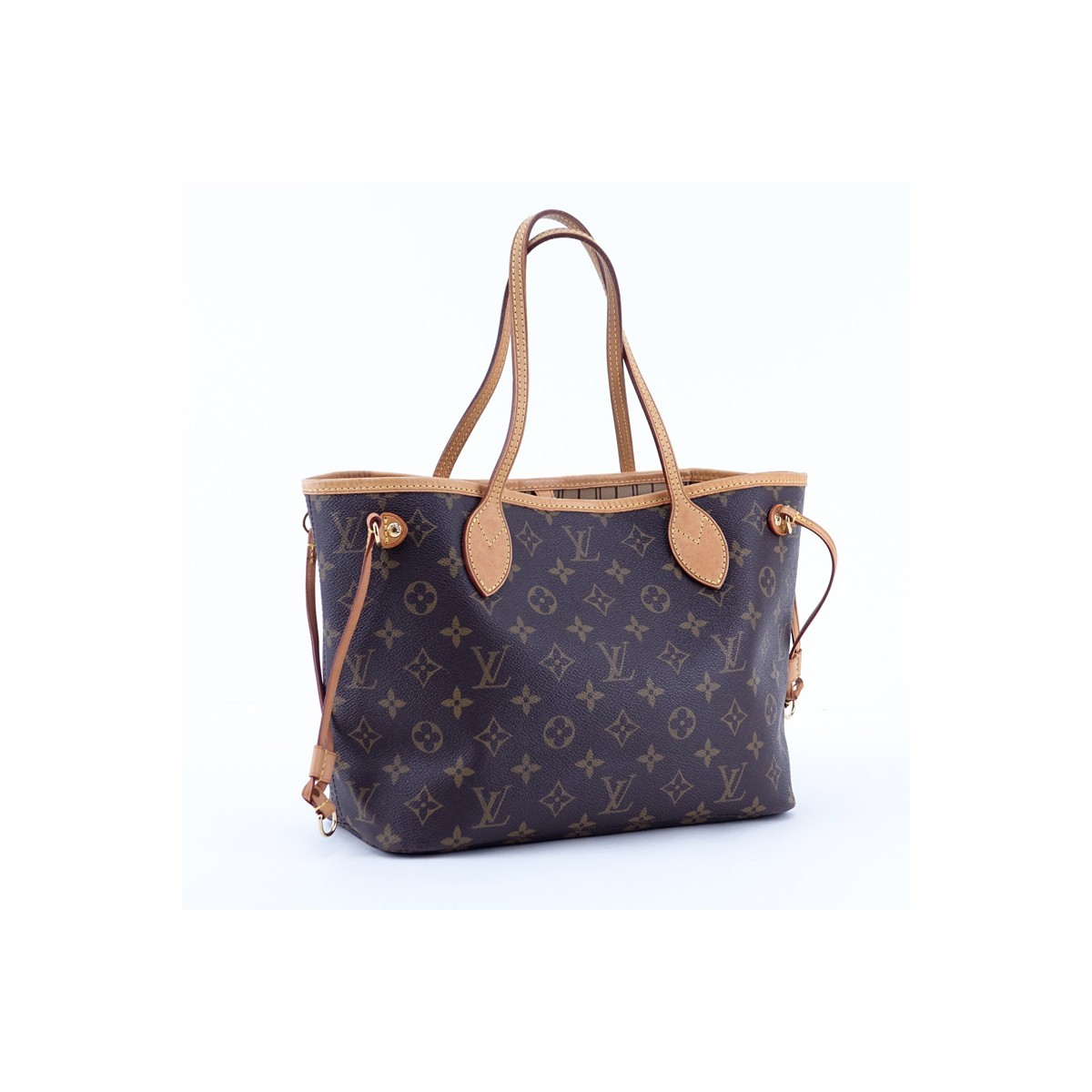 Louis Vuitton Brown Monogram Coated Canvas And Leather Neverfull PM Handbag. Golden brass hardware, signature canvas interior with zippered pocket, vachetta straps.