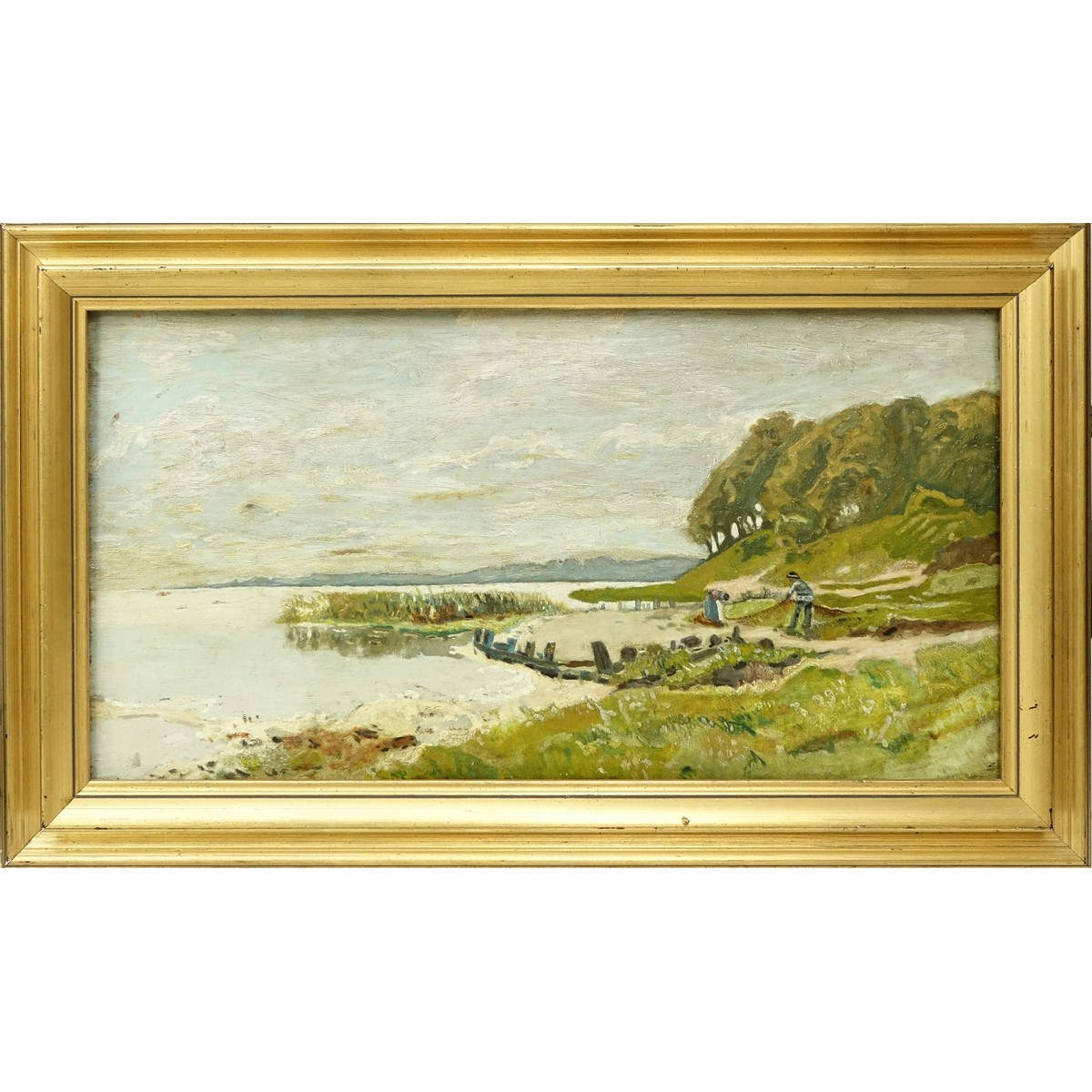 "In The Style Of Charles Francois Daubigny, French (1817 - 1878). Oil painting on board ""Waterside""."