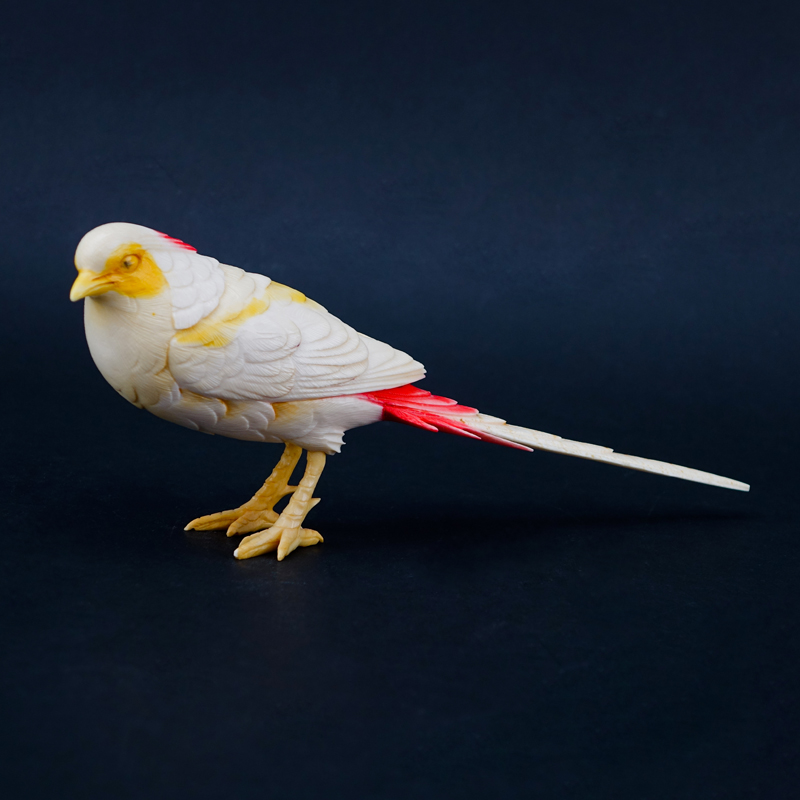 Vintage Chinese Carved Ivory Bird Figurine. Polychrome decorated.