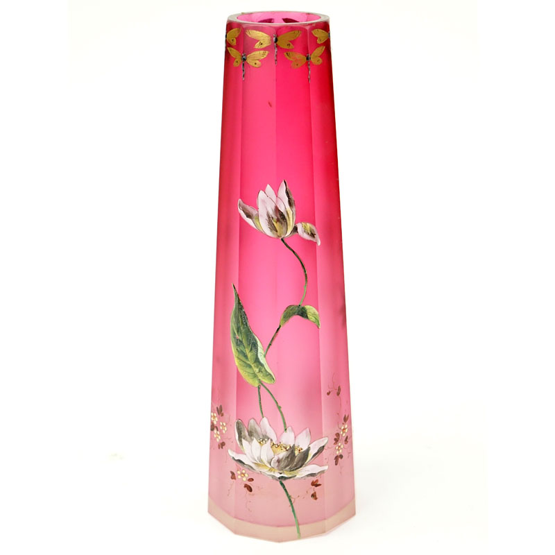 French Art Deco Hand painted Flower and Dragonfly Art Glass Vase. Unsigned.