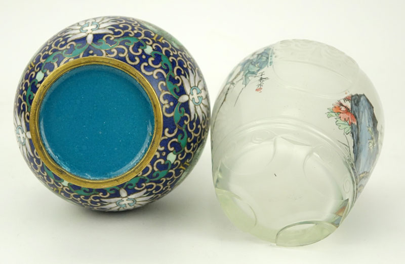 Collection of Two (2) Vintage Chinese Tabletop Items. Includes: cloisonné vase and reverse painted glass vase.