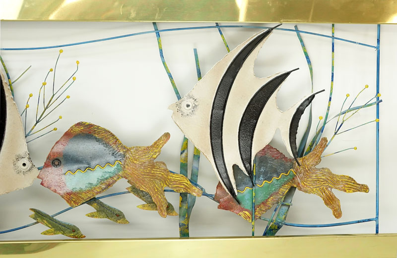 "Curtis Jere, Chinese/ American (1910 - 2008) Polychrome Metal and Brass ""Aquarium"" Wall Hanging Sculpture. Signed and dated 1993."