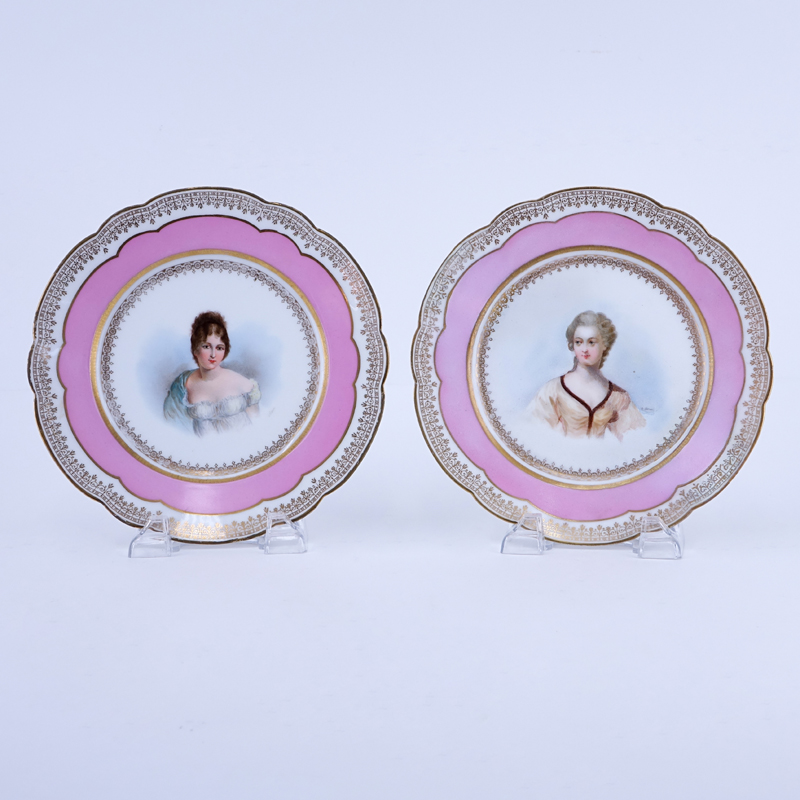 Pair of 19/20th Century Sevres Porcelain Cabinet Plates, Chateau de Tuileries Rose Pompadour and Gilt Hand painted Cabinet Plates. Features a portrait of Madame Recamier and another of Madame de Créquy?.