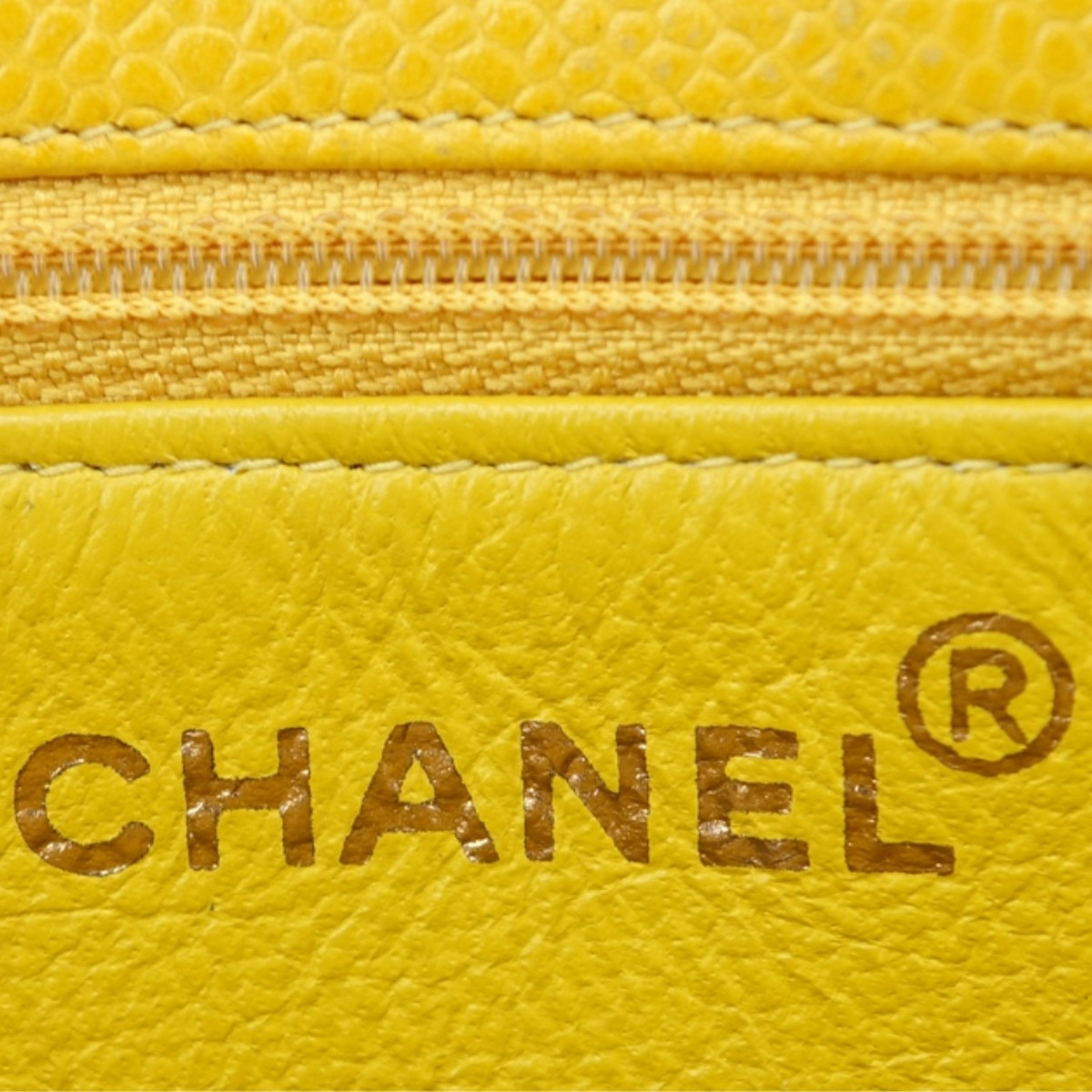 Chanel Yellow Caviar Leather Vintage Tote