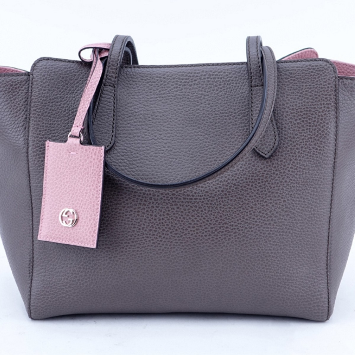 Gucci Taupe/Light Pink Grained Leather Swing PM