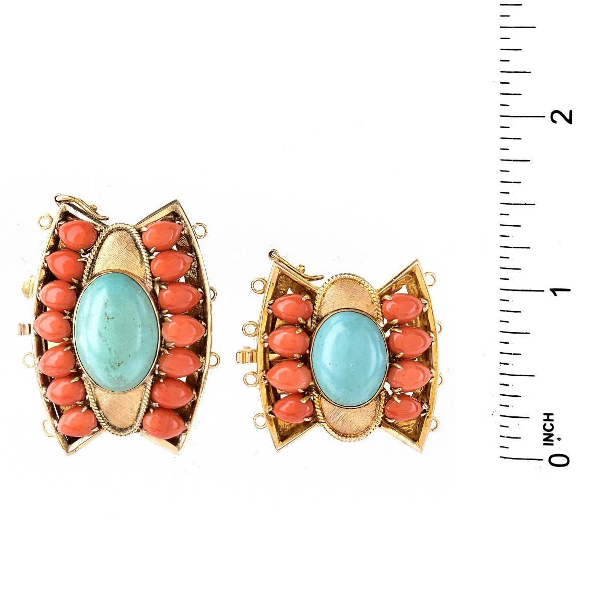 Two (2) Coral, Turquoise and 14K Gold Clasps