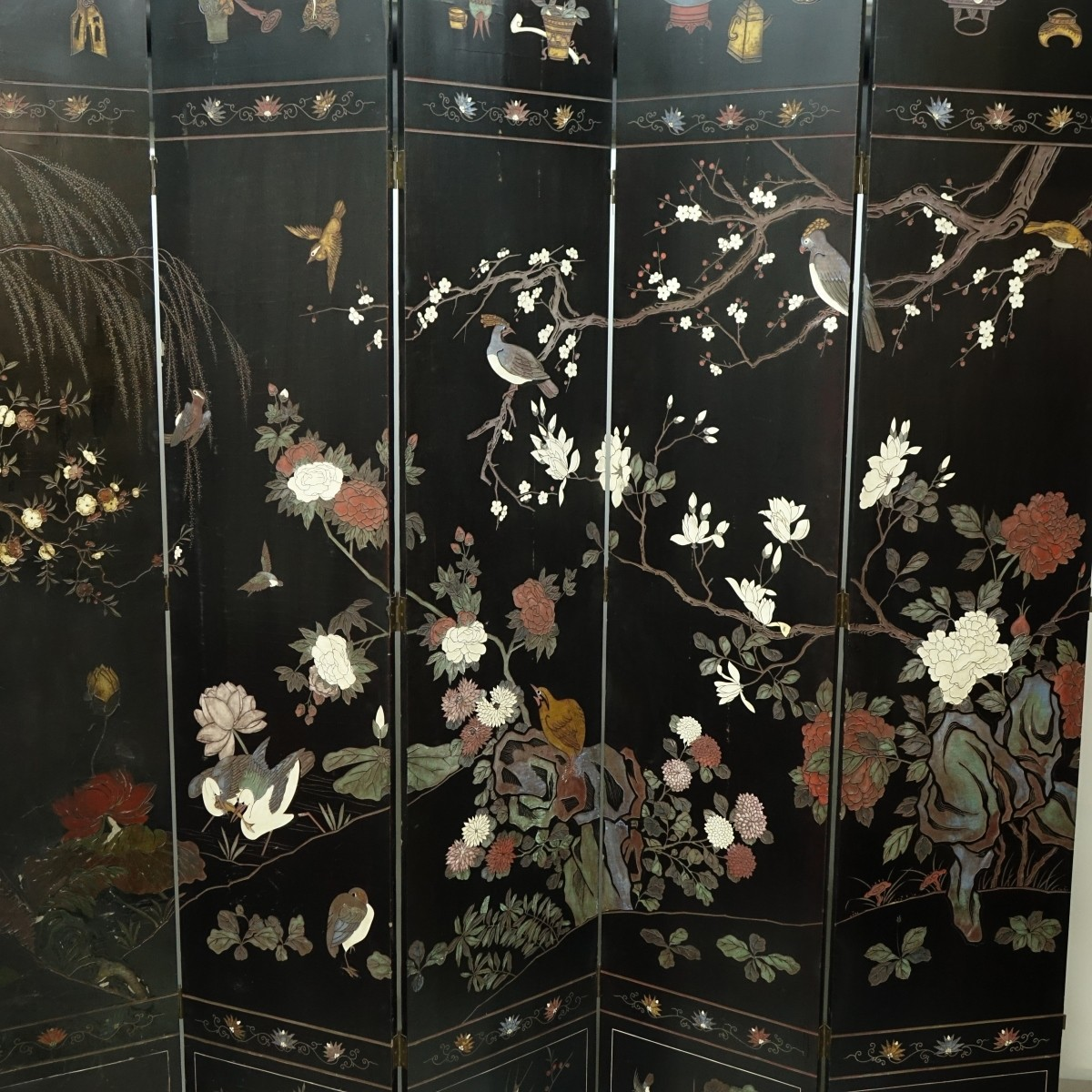 Massive Antique Chinese Black Lacquered Screen