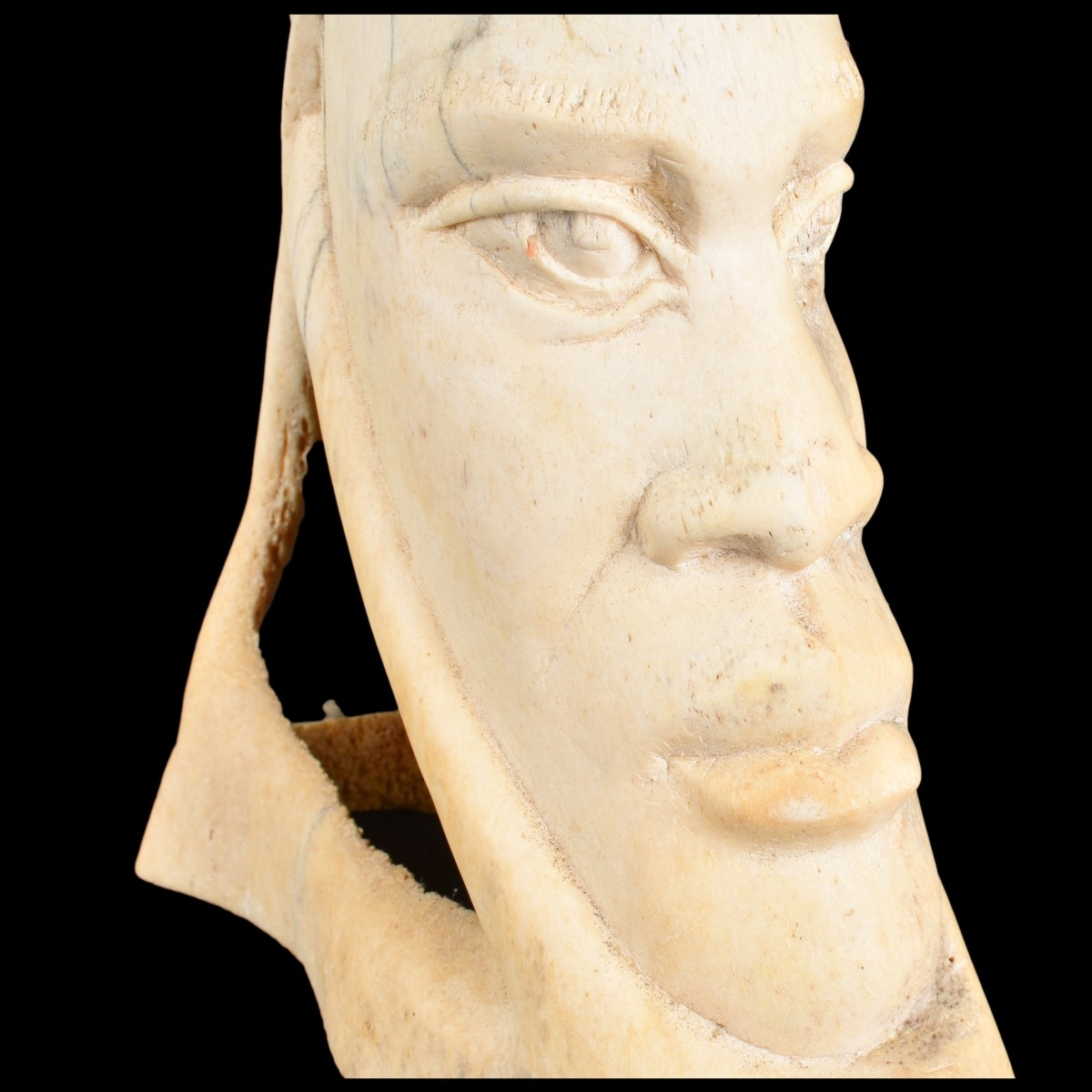 African Carved Bone Bust
