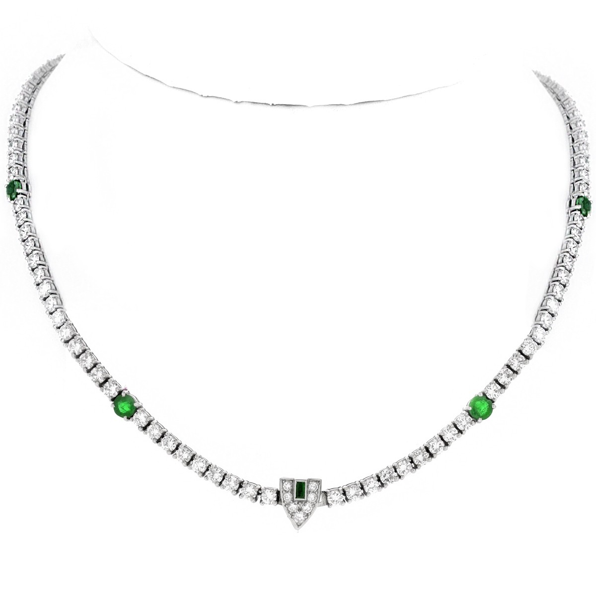 Art Deco Diamond, Emerald and Platinum Necklace.