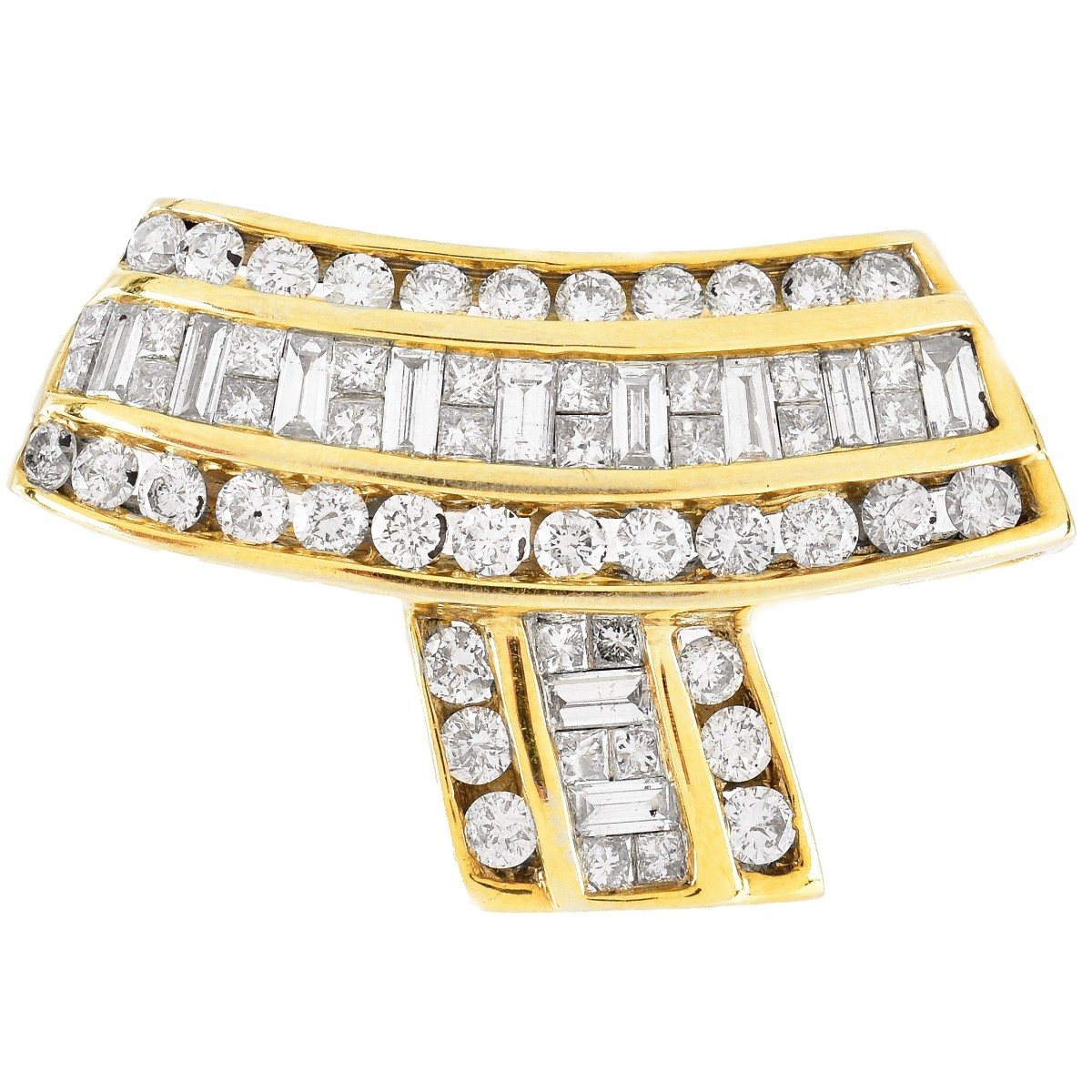 Diamond and 14K Gold Brooch