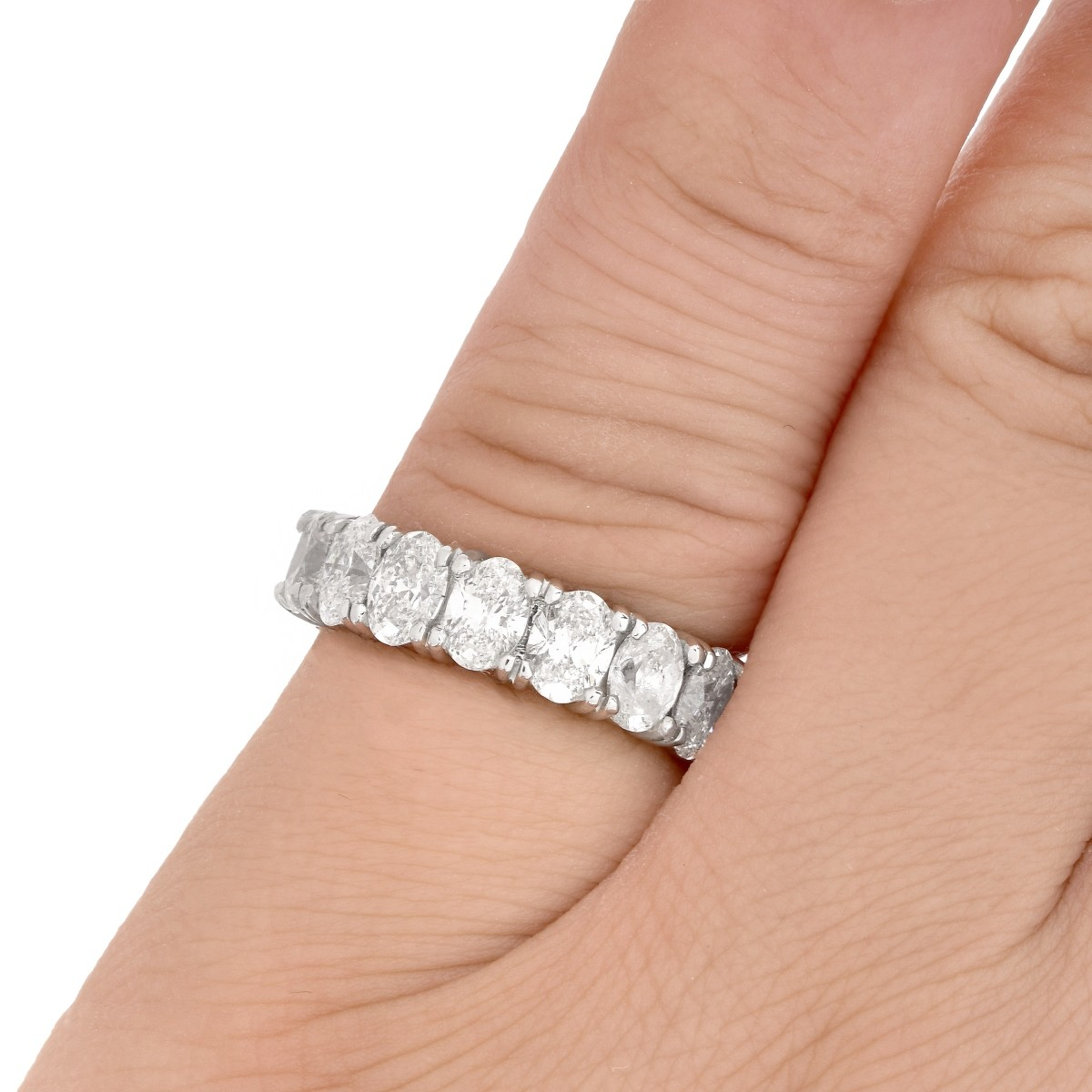 Oval Cut Diamond and Platinum Eternity Band