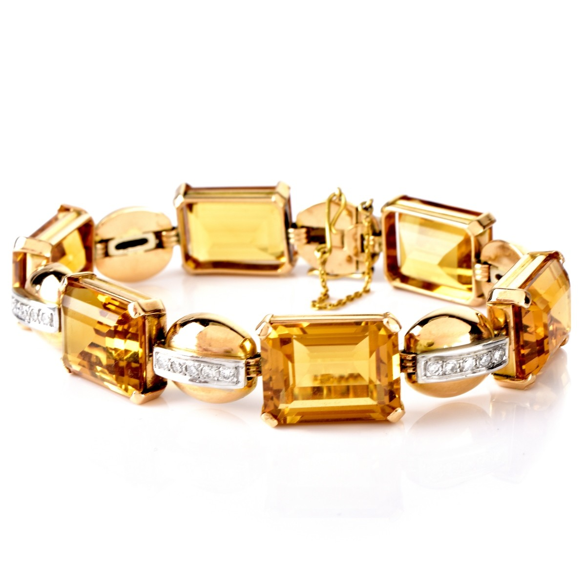 Vintage Topaz, Diamond and 14K Gold Bracelet