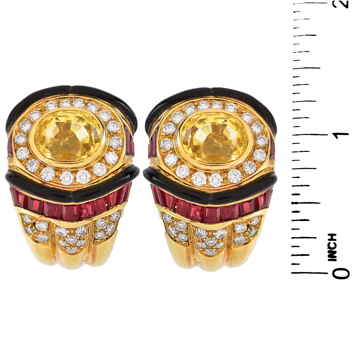 Sapphire, Ruby, Diamond and 18K Gold Earrings