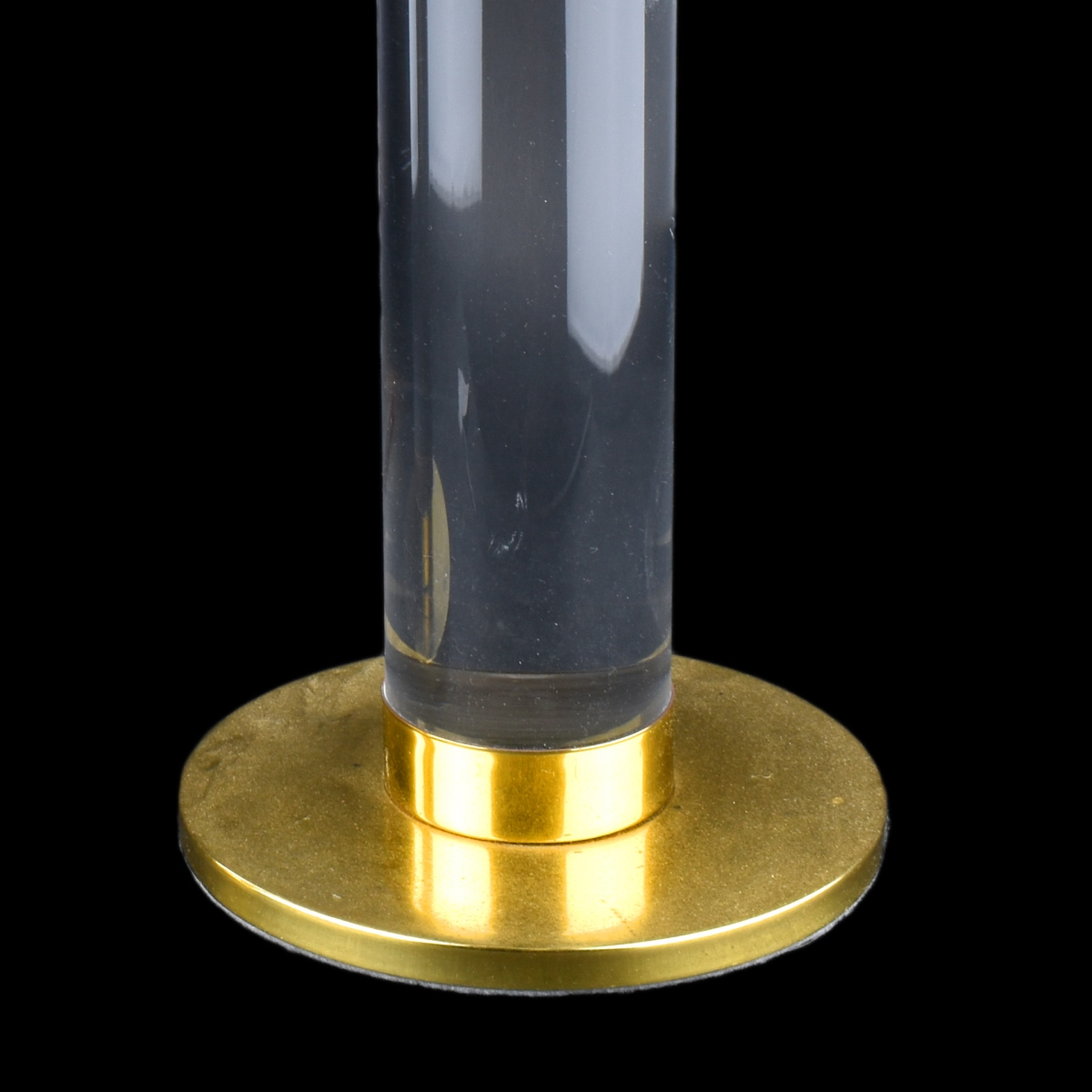 Karl Springer Lucite And Brass Tall Candleholders