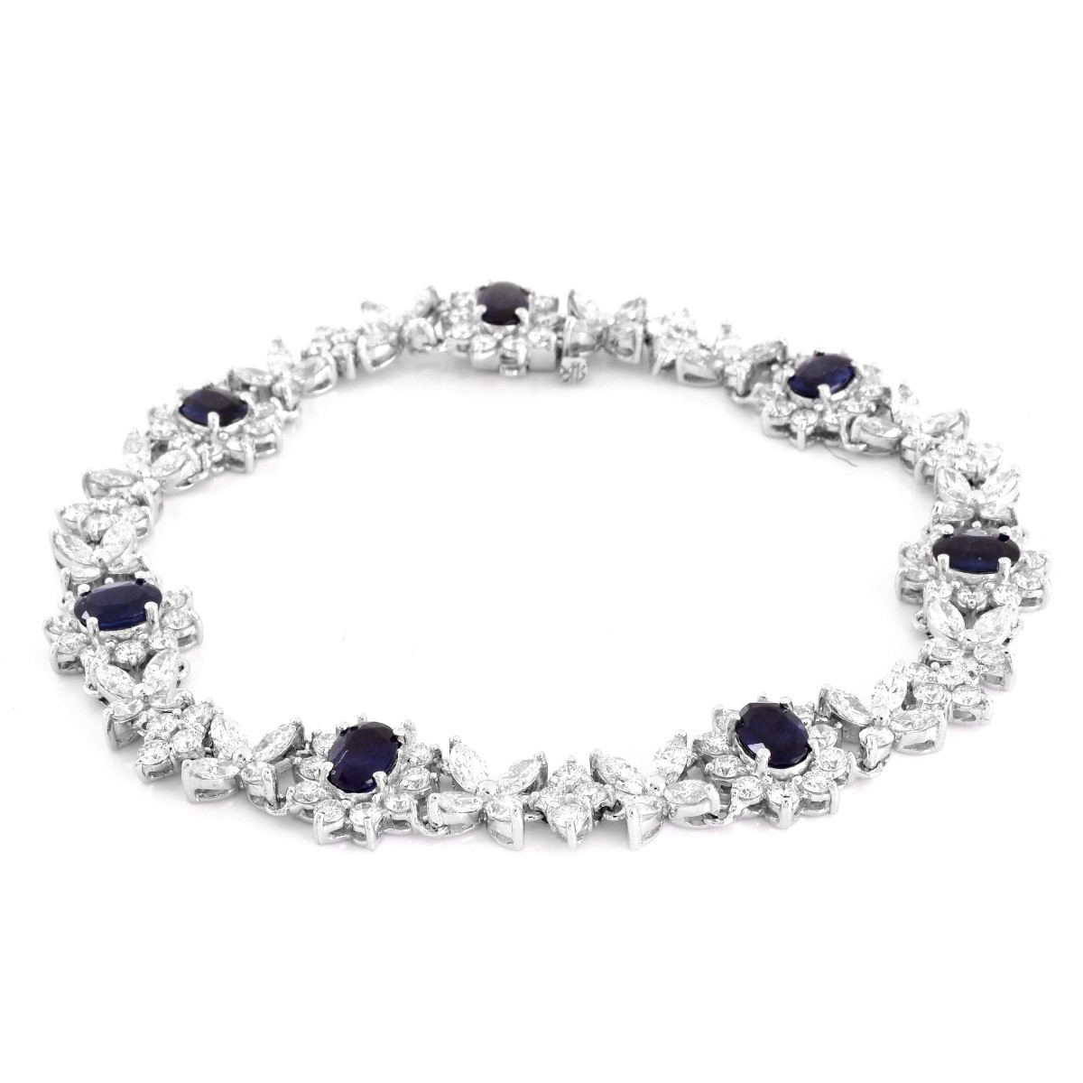 Diamond, Sapphire and 18K Gold Bracelet
