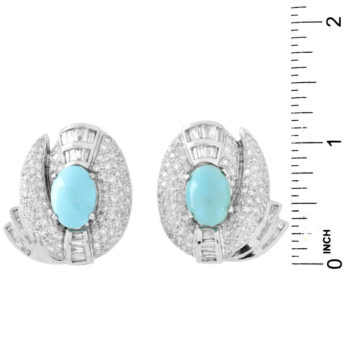 Diamond, Turquoise and 18K Gold Earrings