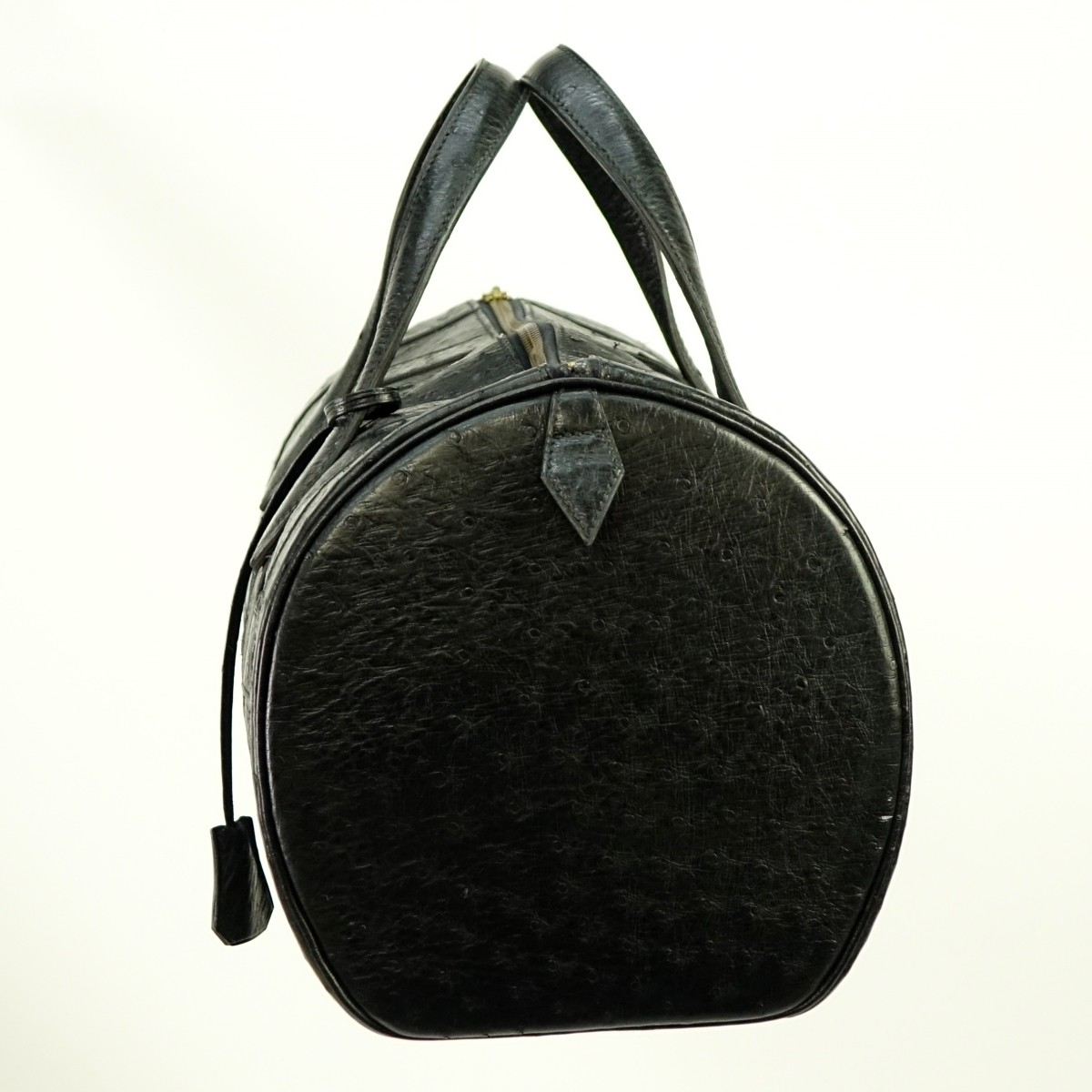 Hermes Black Ostrich Leather Boston Travel Bag
