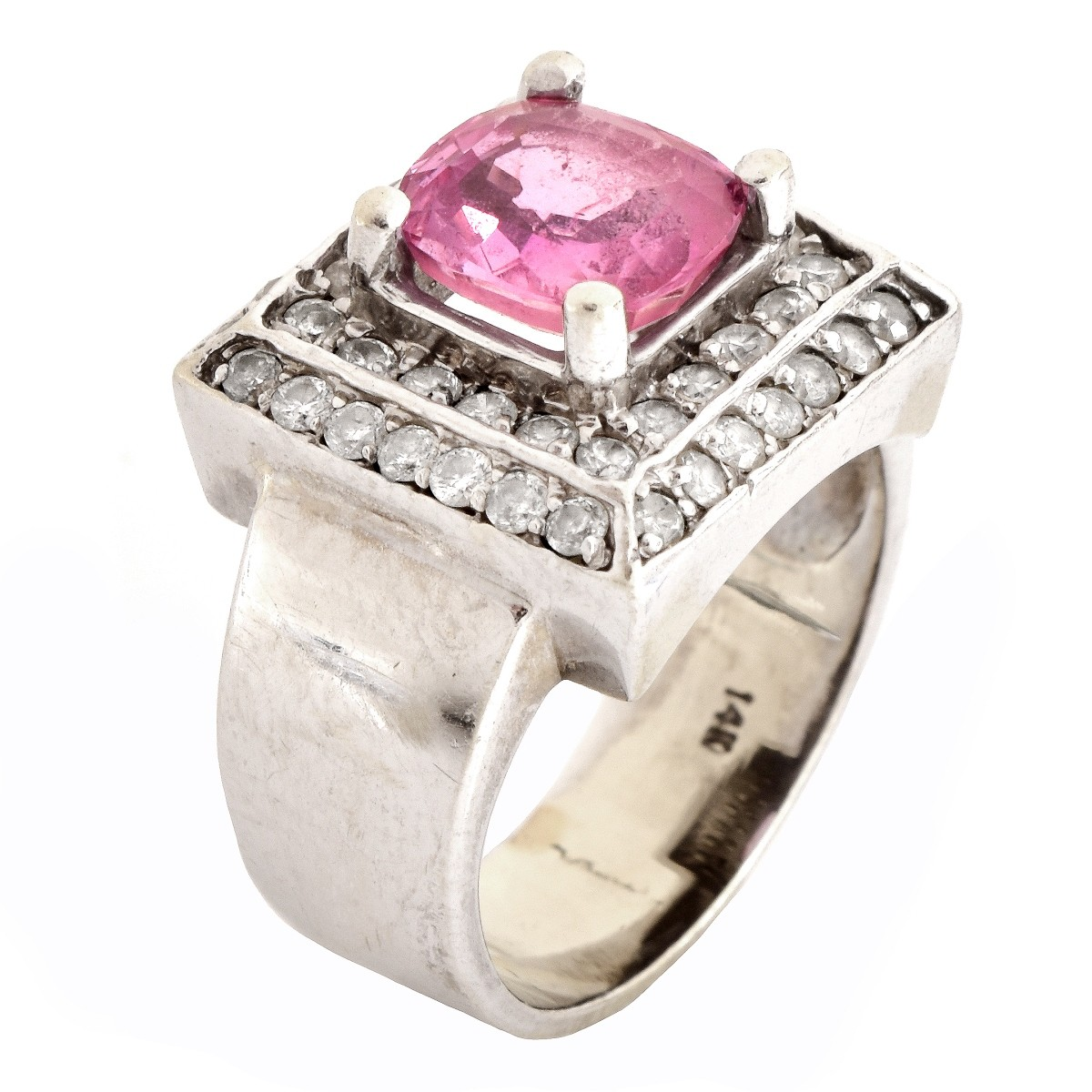 Pink Stone, Diamond and 14K Gold Ring