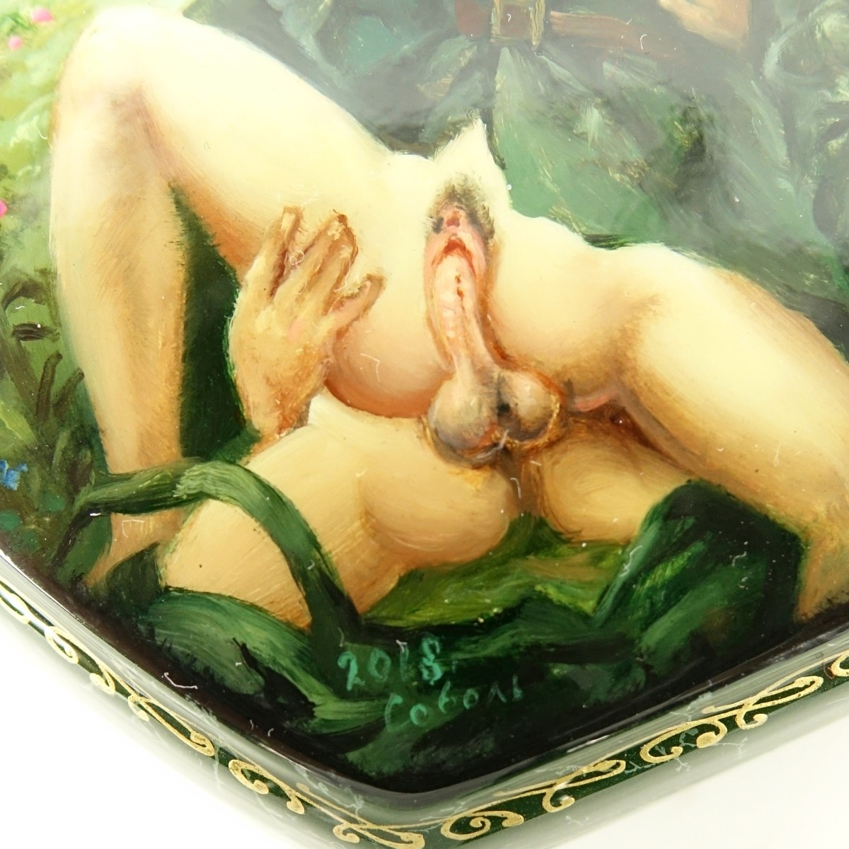 Russian Lacquered Three Part Box with Erotic Scene