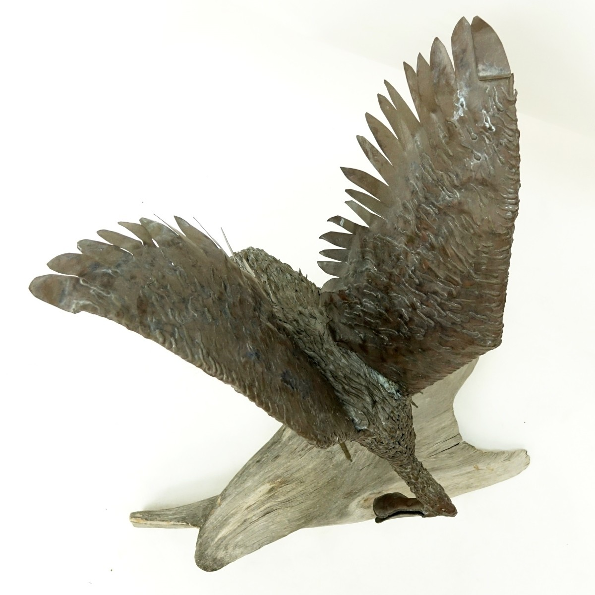 Brass Spoonbill Bird Sculpture Driftwood Base