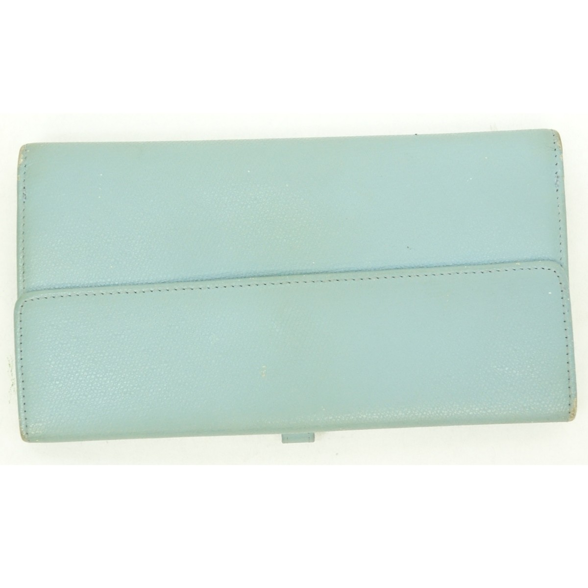 Chanel Light Blue Leather Long Bifold Wallet