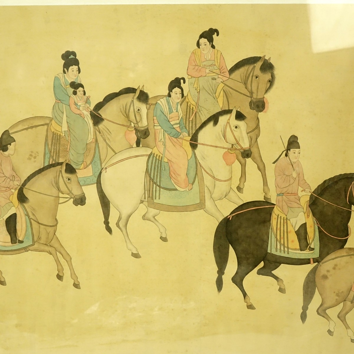 Chinese Ink and Color Silk Scroll Painting