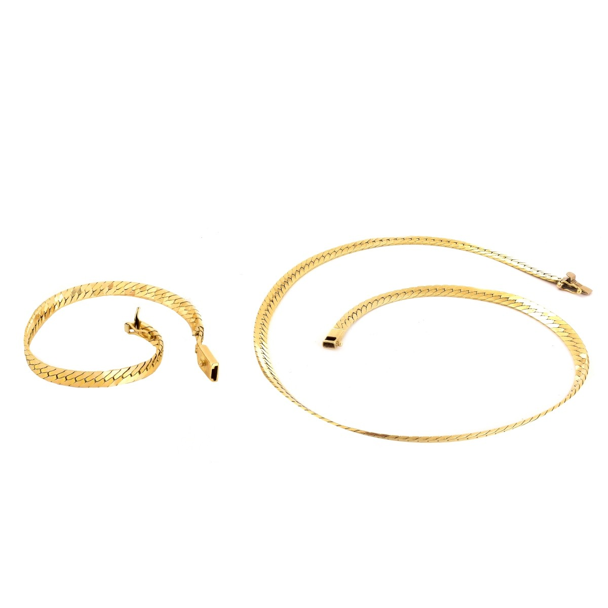 14K Gold Herringbone Link Necklace and Bracelet