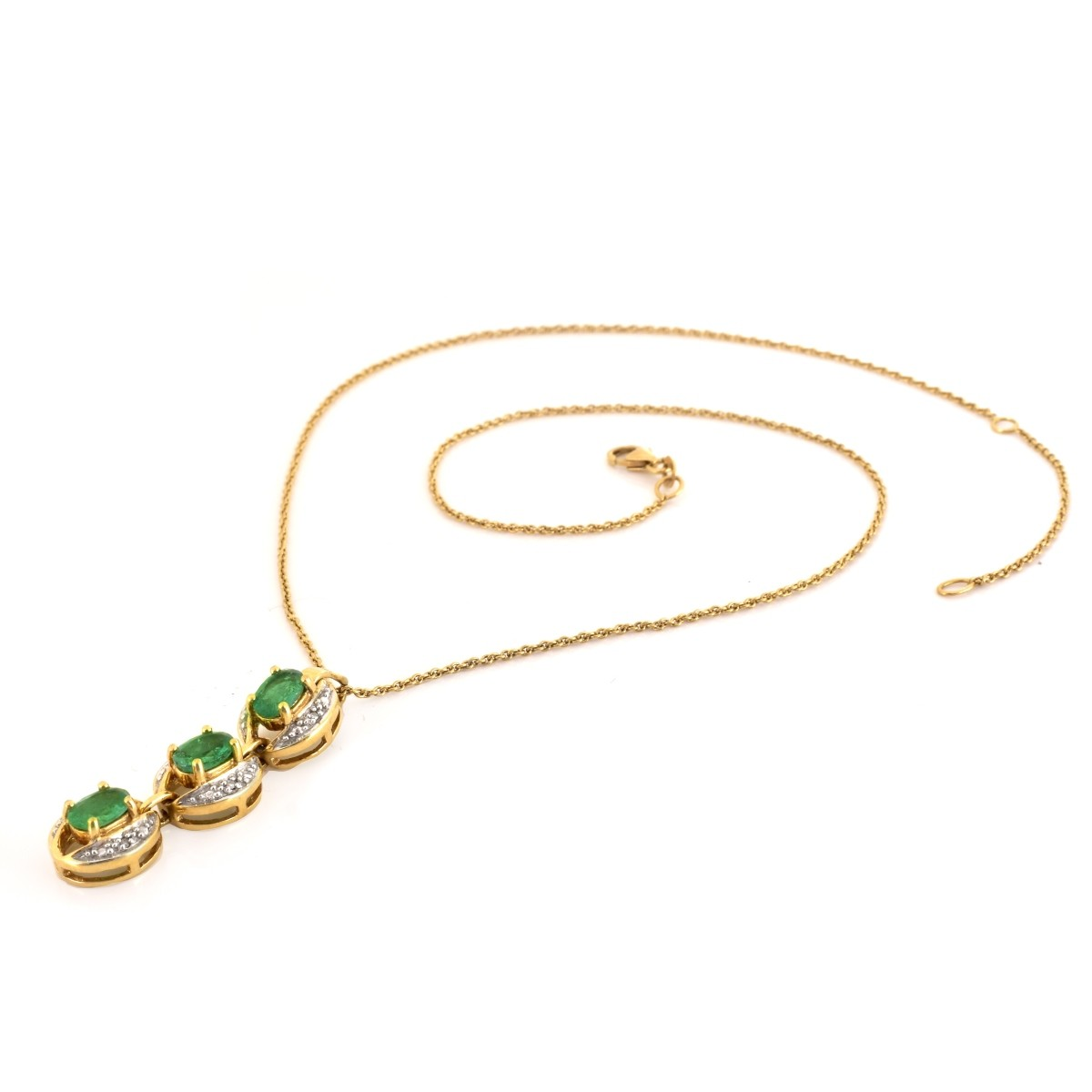 Emerald, Diamond and 18K Gold Pendant Necklace