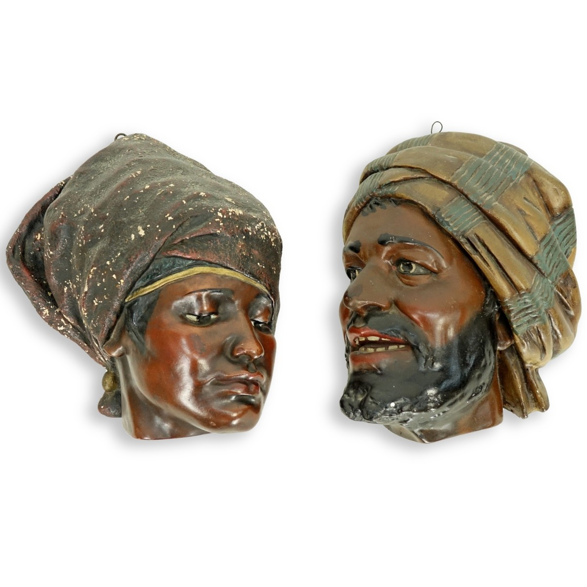 Pair of Vintage Polychrome Pottery Bedouin Figures