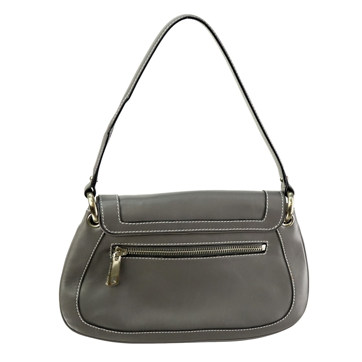Marc Jacobs Gray Top Stitch Leather Flap Bag