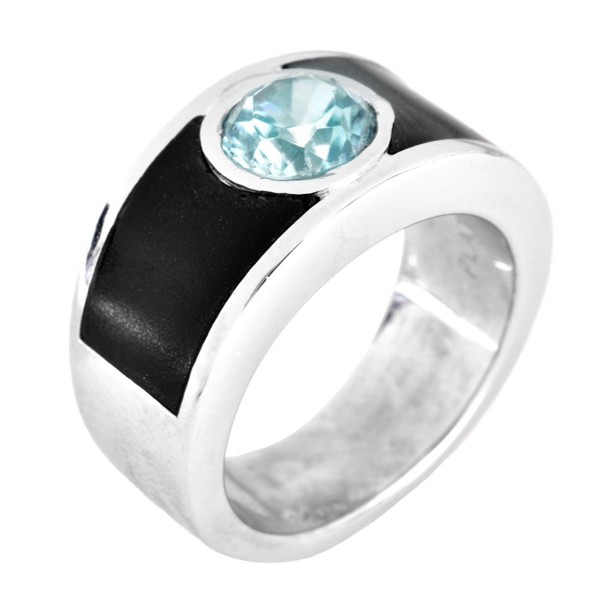 Man's Platinum, Coral and Blue Zircon Ring