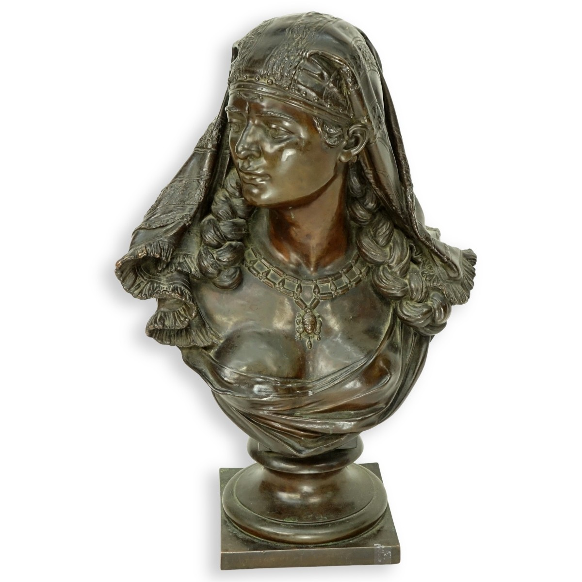 Antique French Spelter Orientalist Female Bust