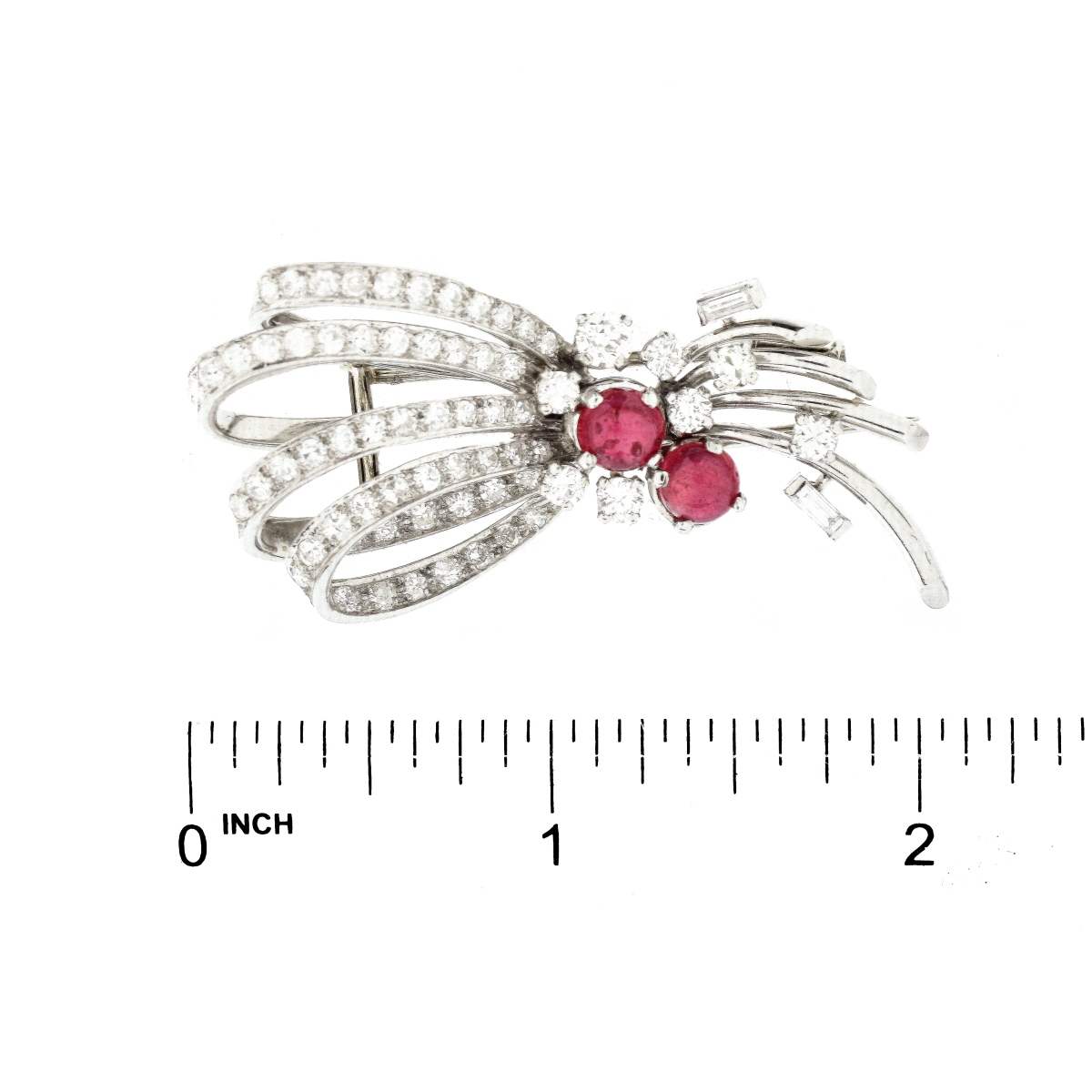 French Diamond, Ruby and Platinum Bow Brooch
