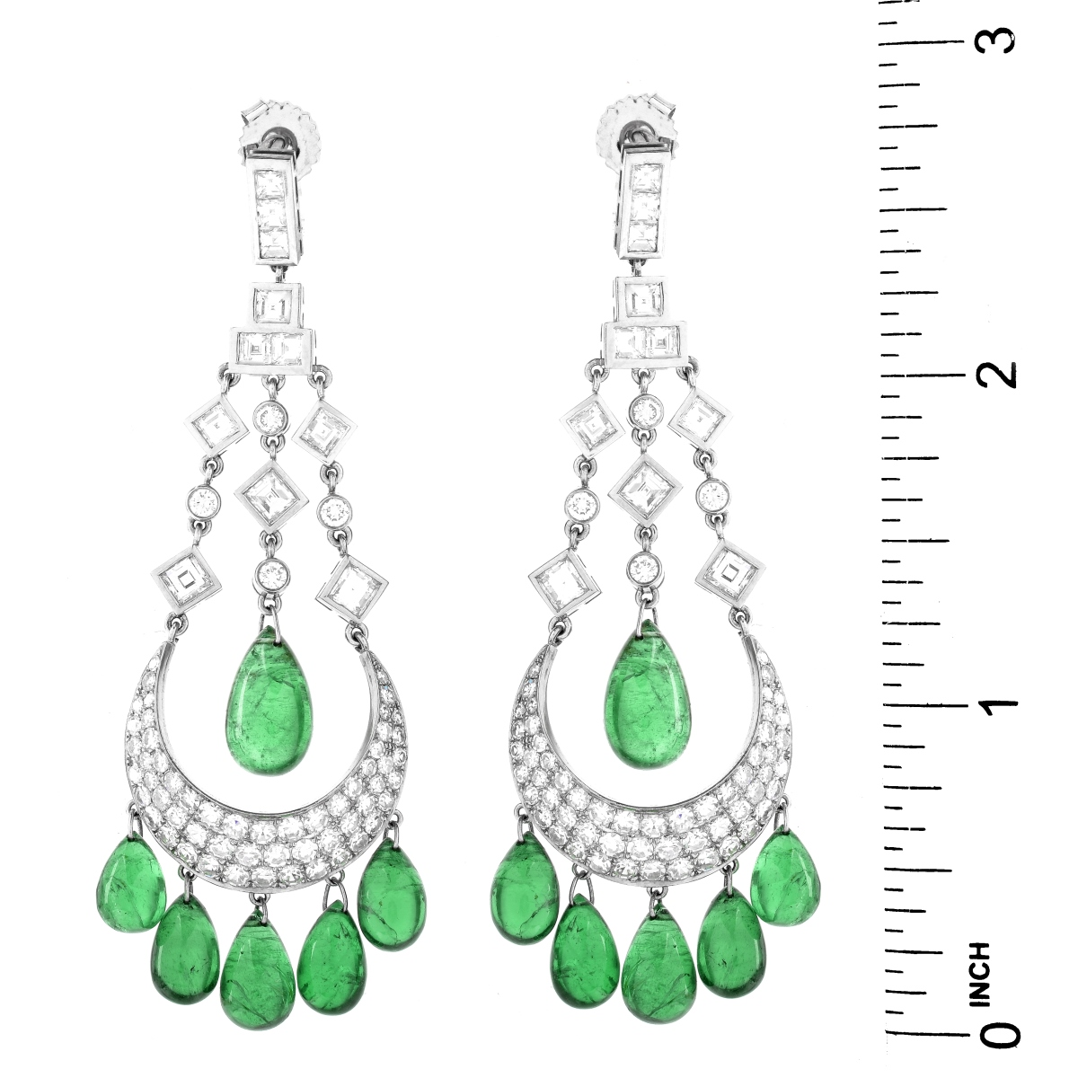 Emerald, Diamond and Platinum Earrings