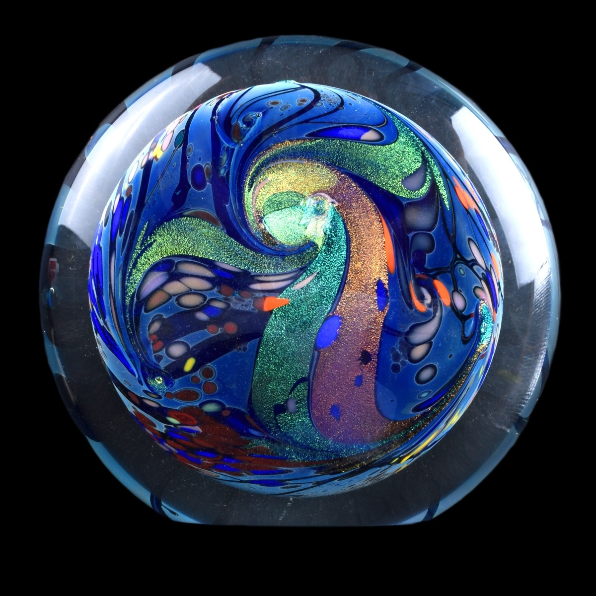 Rollin Karg, American Large Art Glass Paperweight