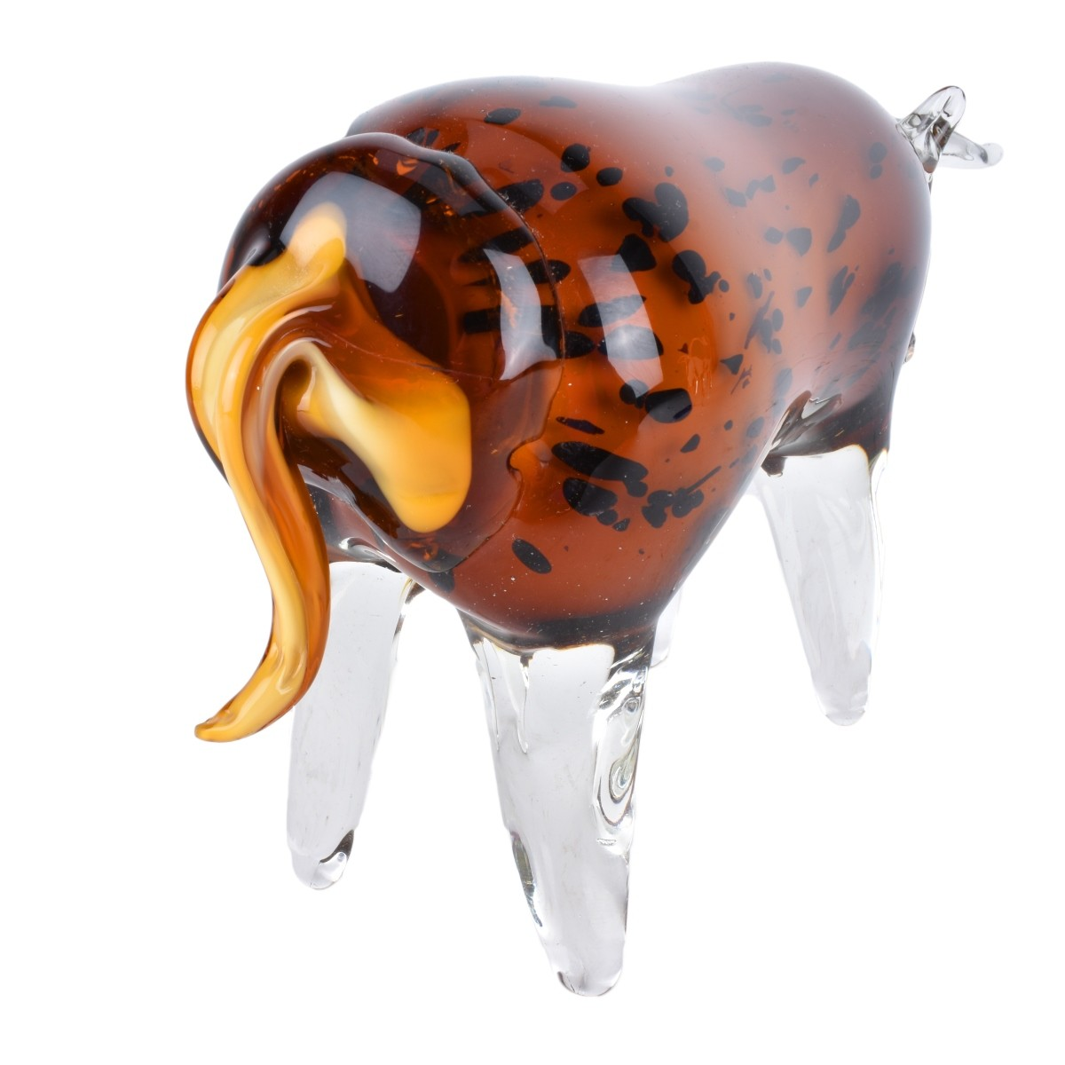 Collection of 3 Contemporary Art Glass Bull Figure