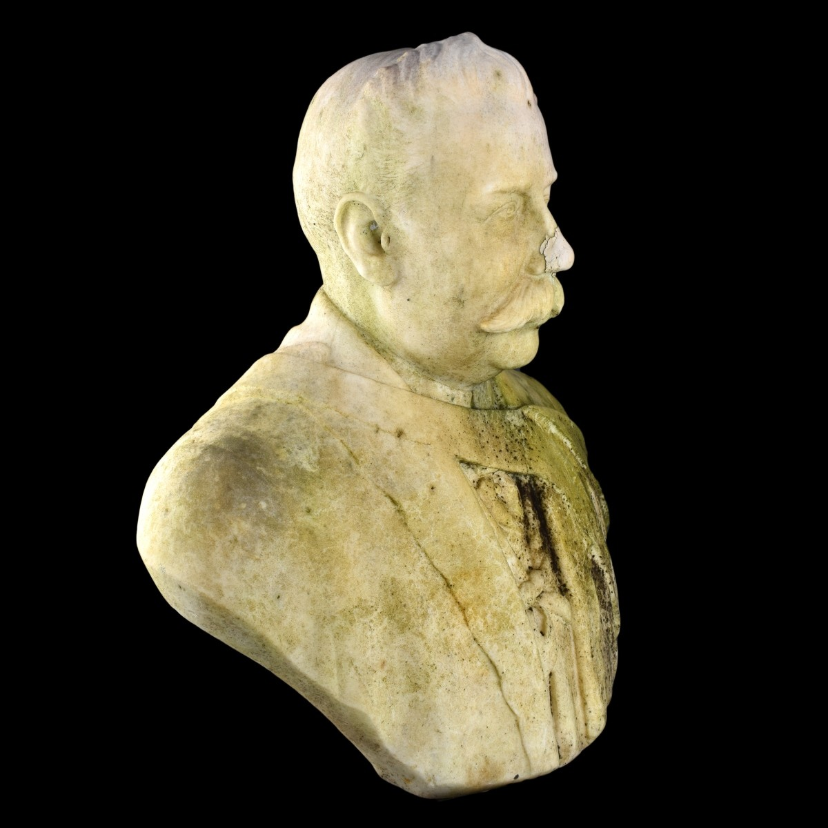 Antique 1920's Marble Bust Of A Man