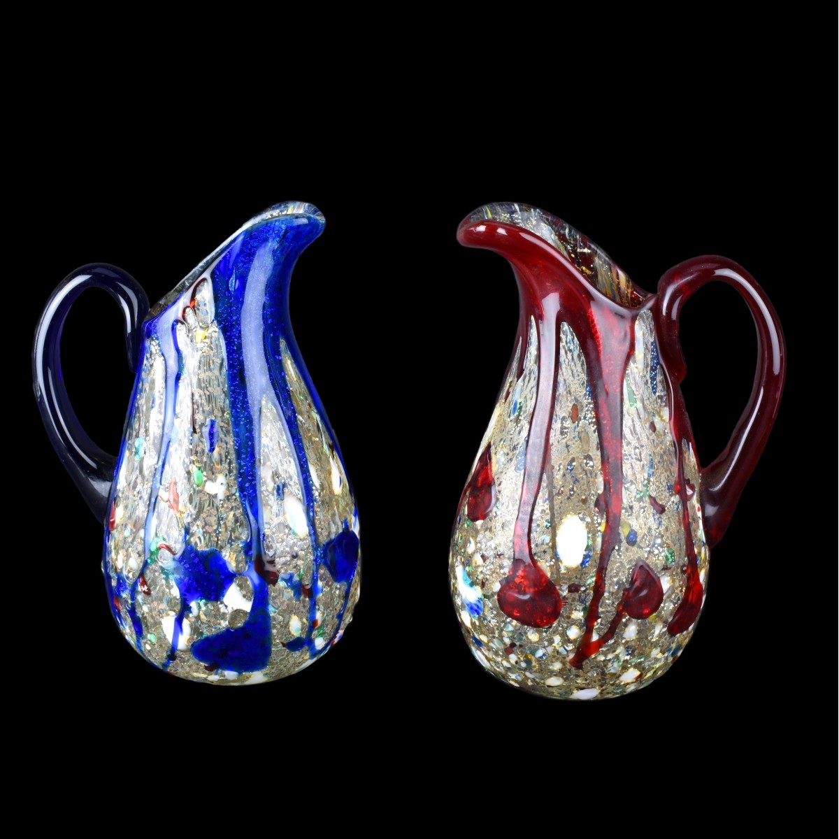 Two (2) Vintage Murano Art Glass Pitchers