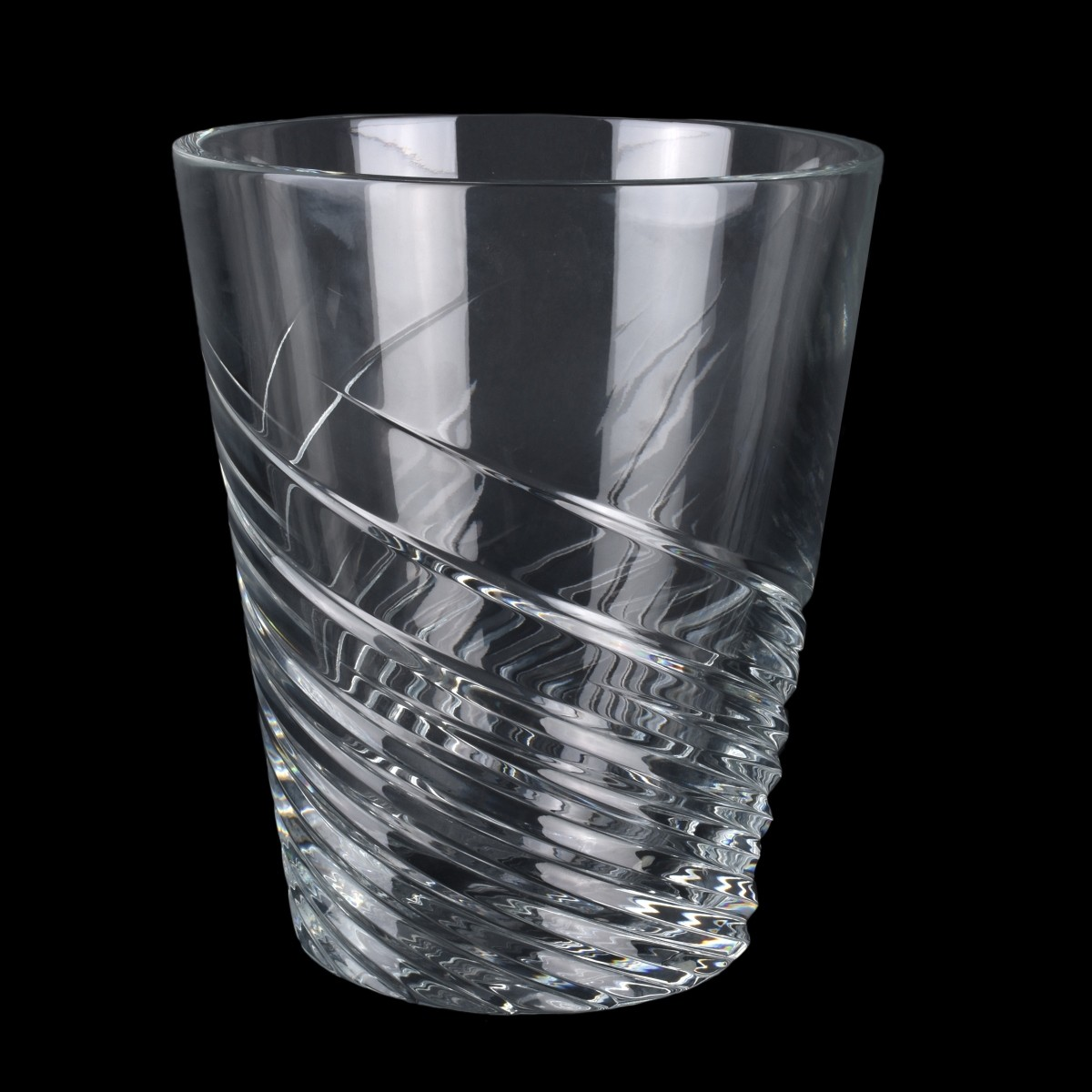 "Large Baccarat ""Spin"" Crystal Ice Bucket"